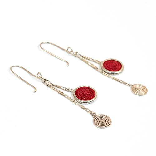 Fair Trade Sisal and Alloy Mini Classic Disk Bezel Earrrings w/Hanging Spiral, Bright Red, SJE58BR by Baskets of Africa
