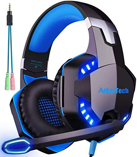 Gaming Headset, PS4 Headset with Microphone PC Xbox One Gamer Headphones 3D Surround Sound G2000 LED Gaming Headsets…