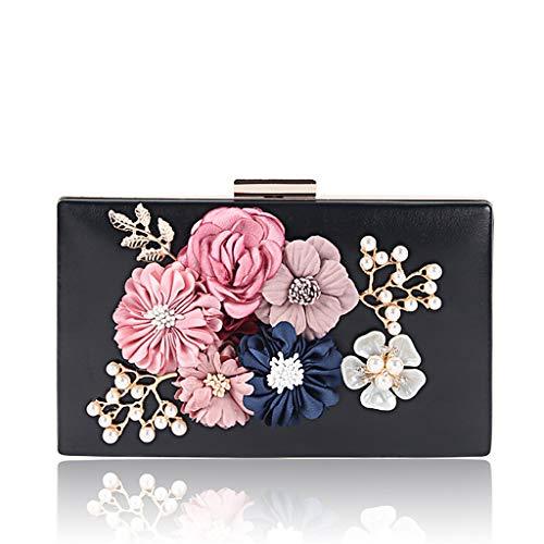 Clutch Prom Flower Evening BYNNIX Wedding Women Luxury Wallet Black Bag Purse Party 8xqtwCA