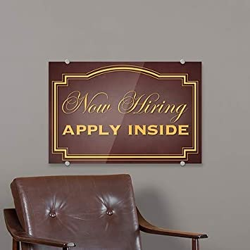 Now Hiring Apply Inside CGSignLab 5-Pack 18x12 Classic Brown Premium Brushed Aluminum Sign