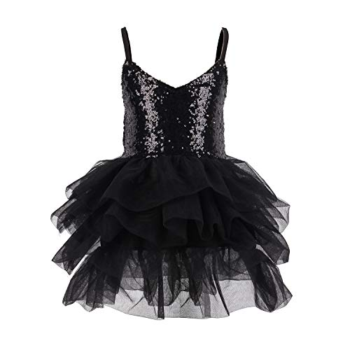 - Black Sequins Tulle Dress Girl Party Tutu Dress for Dancing Birthday Ballerina Party 4T
