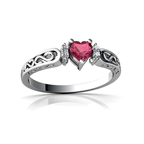 14kt White Gold Pink Tourmaline and Diamond 4mm Heart filligree Scroll Ring - Size 7.5
