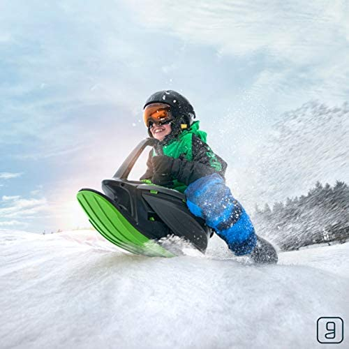 Gizmo Riders Skidrifter Sled for Kids, Snow Sled with Brake for Ages 3 and Up, Weight Capacity 150 lbs (Mystic Green)