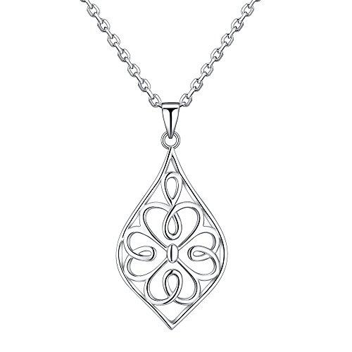 RSJewel Clover Design Sterling Silver Filigree Pendant With Length Adjustable Chain Necklace
