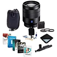 Sony 24-70mm f/4 Vario-Tessar T FE ZA OSS, FF, E-Mount NEX Camera Lens Bundle w/Filters & Software