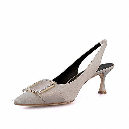 de 36 Moda Baja para Gris Zapatos Verdad DIDIDD Cuadrada Enana Plata Boca de de Llevar con Hebilla Sandalias con nxwB60FqUw