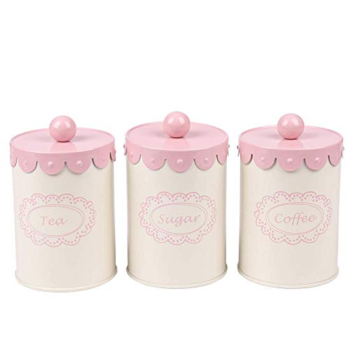 Home By Jackie X789 Set of 3 Metal Kitchen Food Storage Tin Canister/Jar/Container with Flower Lid (pink)
