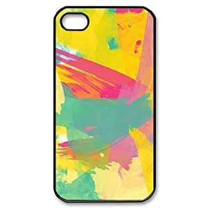 iPhone 4/4s Case, Abstract Watercolor Hard Case For iPhone 4/4s(Black) Yearinspace053524