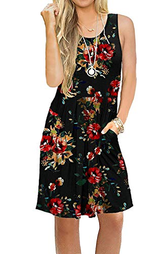Pattern Purple Necklace - Akihoo Women's Summer Spaghetti Strap Solid Color Ruffle Backless A Line Beach Short Dress with Pockets 0-Flower Black-86 2XL