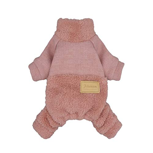 Fitwarm Turtleneck Knitted Dog Clothes Winter Outfits Pet Jumpsuits Cat Sweaters Pink XL