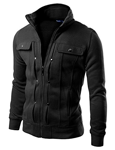 Alpine Leather Jackets (Doublju Mens Highneck Zip Up Jacket BLACK (US-S) Asia - M)