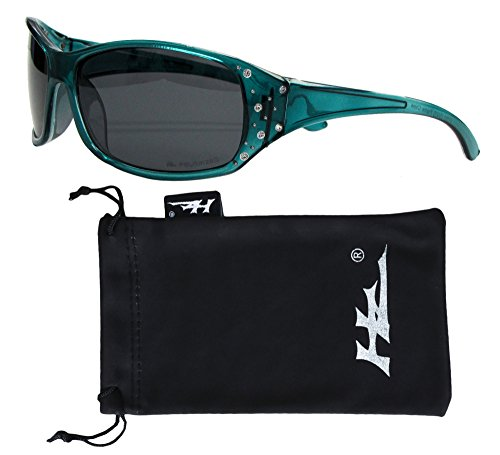 HZ Series Elettra - Women's Premium Polarized Sunglasses by Hornz – Tropical Teal Frame – Dark Smoke - Scratch Resistant Sunglasses Polarised