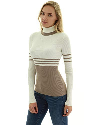 Tan Turtleneck Sweater - PattyBoutik Women Turtleneck Striped Ribbed Sweater (Ivory and Tan Large)
