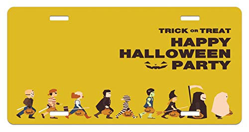 Lunarable Halloween License Plate, Trick or Treat Halloween Party Pirate Clown Dracula Mummy Frankenstein Witch, High Gloss Aluminum Novelty Plate, 5.88 L X 11.88 W Inches, Multicolor ()