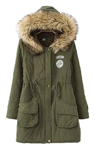Velvet Pocketed Drawstring Jacket EnergyWomen Green Long Mid Long Sleeve Parka Army TqIx5xwf