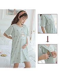 dds5391 Lightweight Pregnant Maternity Women Breastfeeding Cartoon Summer Dress Sleepwear Home Wear - Light Cyan XXL