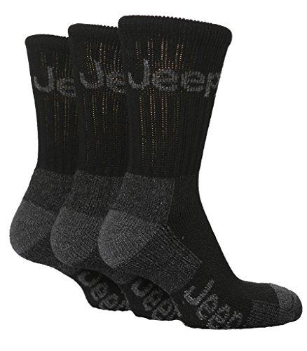 3 Pairs Mens Luxury Black Jeep Terrain Walking Socks Size 6-11 Uk 39-45 Eur