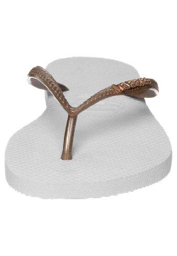 Havaianas Slanke Logo Nieuwe Witte Het Strandwipschakelaars Van Metaal Witte Witte Vrouwen