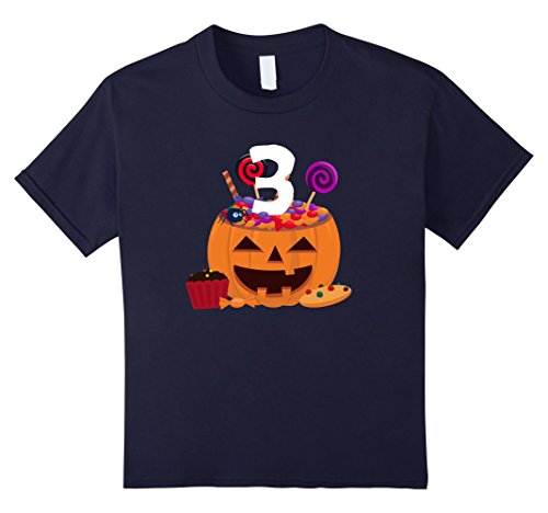 Old Navy Cupcake Costumes (Kids Pumpkin O' Lantern T-shirt 3rd Birthday Kids Youth 4 Navy)