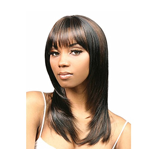 LEJIMEI Gold Shoulder Length Straight Synthetic Dark Brown to Blonde Wig for Black Womem (Black Mixed Brown)