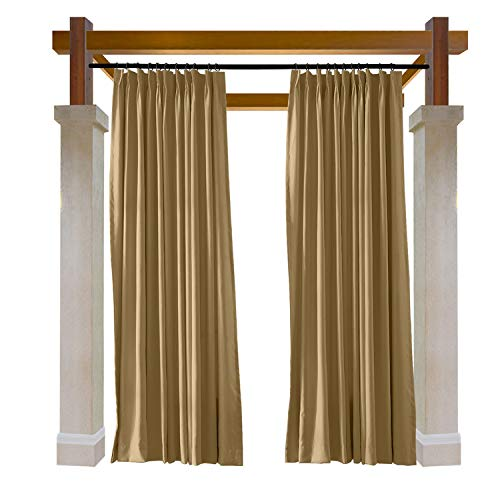 Wheat Bronze Four Light - Macochico Outdoor Curtains Noise Reducing Lightproof Home Decoration Wheat Waterproof Blackout Pinch Pleat Draperies for Patio Garden Gazebo Porch Living Room 52W x 96L (1 Panel)