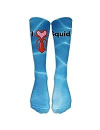 I Love Squid White Unisex Knee High Athleti Sock
