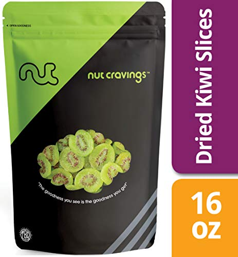 (Nut Cravings Dried Kiwi Slices (1 Pound) - Sweet, Healthy Dehydrated Fruit Snacks - 16 Ounce)
