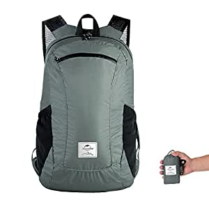Ultralight Foldable Packable Small Hiking Daypack Backpack for Women Men by Naturehike Lightweight 18L Waterproof for Climbing Camping Backpacking Cycling Bicycle Travel Business Airplane (Gray)