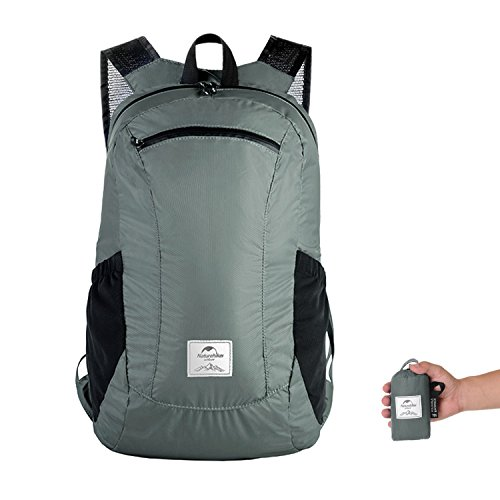 Naturehike Ultralight Foldable Packable Small Hiking Daypack Backpack for Women Men, Lightweight 18L 25L Waterproof for Climbing Camping Backpacking Cycling Bicycle Travel Airplane (Gray - 18L)