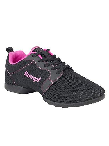 Rumpf Mojo 1510 malla Dancesneaker zapato de baile suela partida PU Hip Lindy Hop Swing Gimnasia Deporte Fitness entrenamiento Line Dance Aerobic Yoga Negro/Rosa