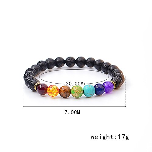 Set of 2 Handmade Couples Yoga Bracelets With Healing Reiki Gem Stone 7 Chakra Natural Matte Agate and Lava Stone For Men, Women, And Teenagers Perfectly Unique Gift For Valentines Day by Lavish Life (Image #2)