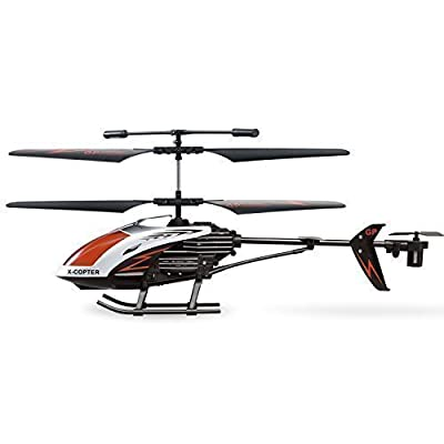 AMOSTING RC Helicopter Crash Resistant 3 5 Channels with Gyro and LED Light  for Indoor Outdoor Ready to Fly - Color Black Red White by AMOSTING