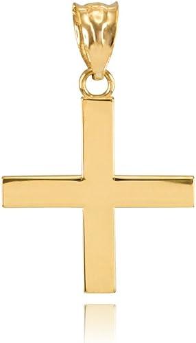 Amazon Com Fine 14k Yellow Gold Greek Cross Charm Pendant Jewelry