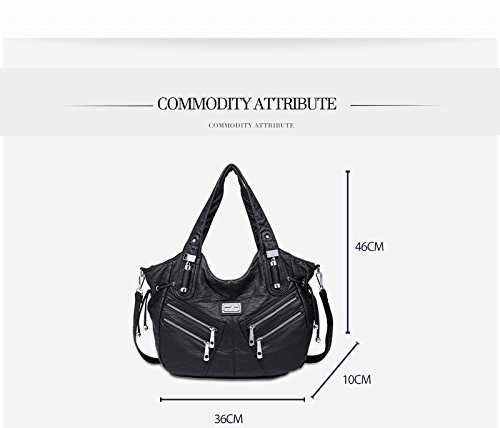 Shoulder Tote Grey Large Women Fashion Pu Handbags Leather Bags Hobo Capacity qE7n74v5