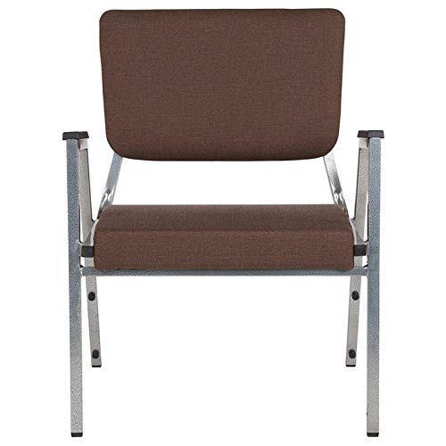 Flash Furniture HERCULES Series 1500 lb. Rated Brown Antimicrobial Fabric Bariatric Arm Chair with 3/4 Panel Back and Silver Vein Frame