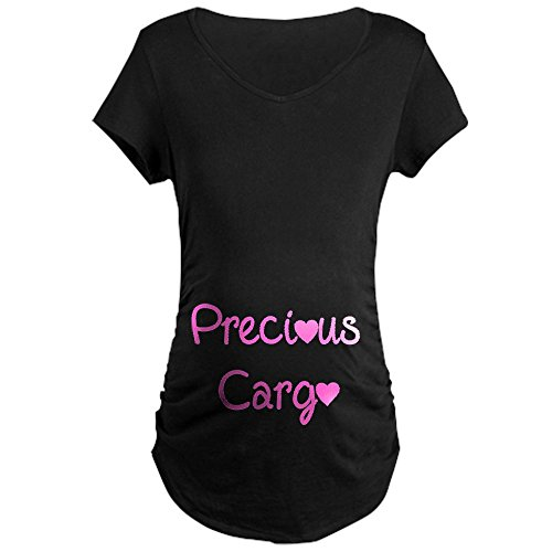 CafePress Precious Cargo Maternity Dark T-Shirt Cotton Maternity T-Shirt, Side Ruched Scoop Neck -