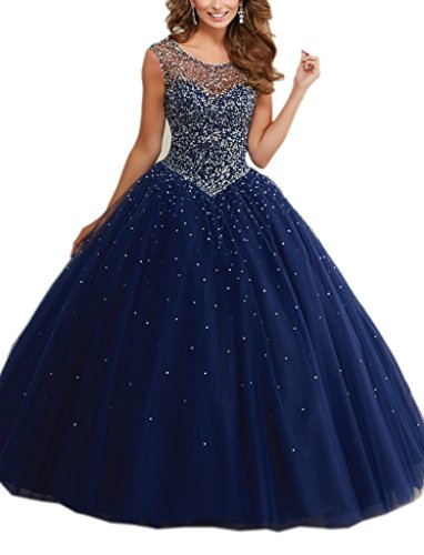 Amazon.com: Mollybridal Ball Gowns Tulle Long Pearls Sheer Neckline Quinceanera Prom Dresses 2018: Clothing