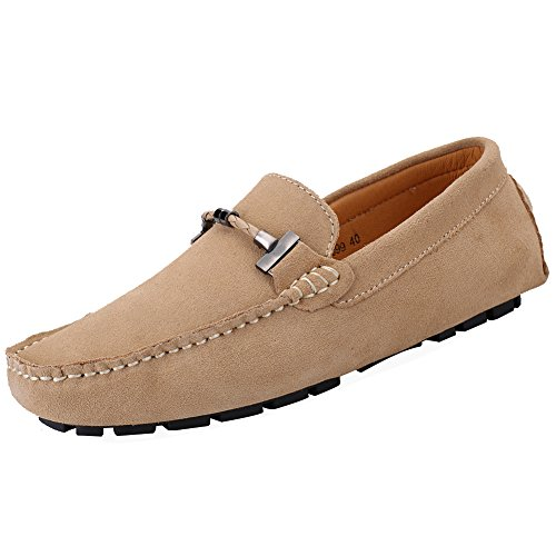 Jamron Mens Elegant Buckle Loafers Comfort Suede Driving Shoes Stylish Moccasin Slippers Camel SN19020 US10