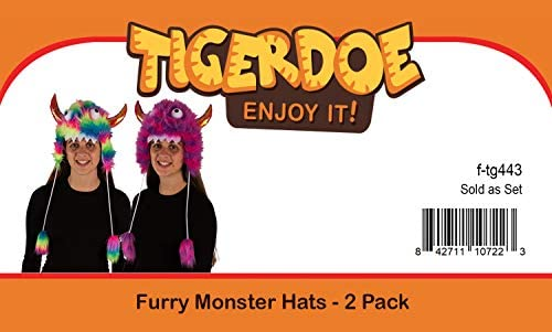 Tigerdoe Monster Hat Costume- Crazy Hats - 2 Pack- Funny Hats - Monster Theme Birthday Party Supplies- Funny Furry Hats