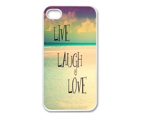 Iphone 4 Case, Thin Flexible Plastic Case Iphone 4 Case, Inspirational Qoute Beach Live Laugh Love (4s case) (iphone4scovers)