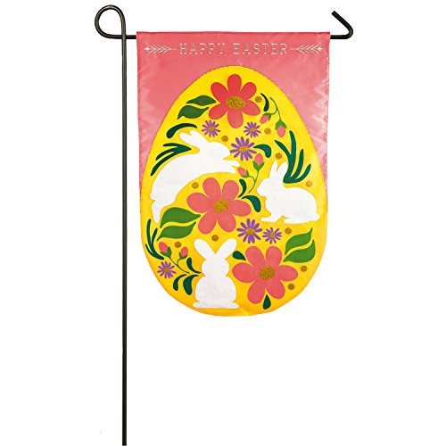 Evergreen Easter Egg Applique Garden Flag, 12.5 x 18 inches Egg Applique Flag