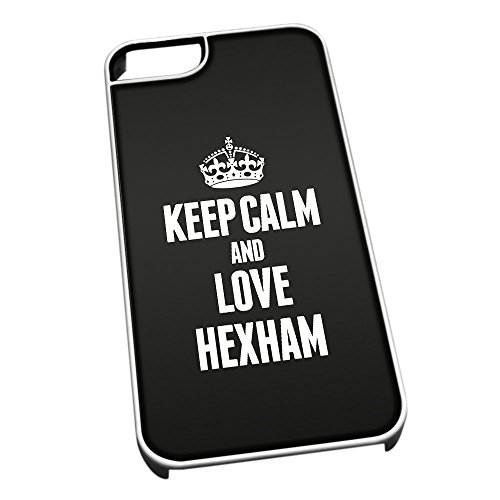 Bianco cover per iPhone 5/5S 0325nero Keep Calm and Love Hexham