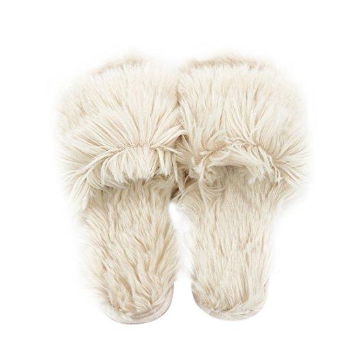 Gohom Frauen Solide Warm Plüsch Hausschuhe Für Zuhause Pelziges Rosa