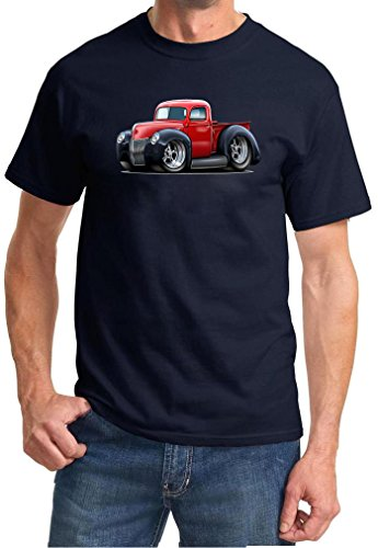 1941 Pickup - 1940 1941 Ford Pickup Truck Hot Rod Full Color Design Tshirt Small Navy Blue