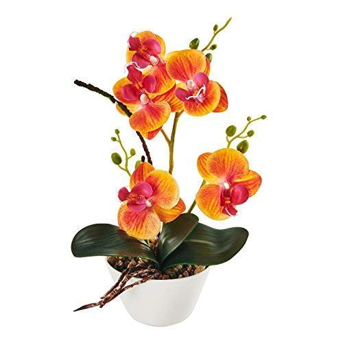 "IMIEE Silk Flowers with Pot 31cm in Height Artificial Orchid Phalaenopsis Arrangement Flower Bonsai with Vase for Room Table Centerpieces-H:12"" (Orange)"