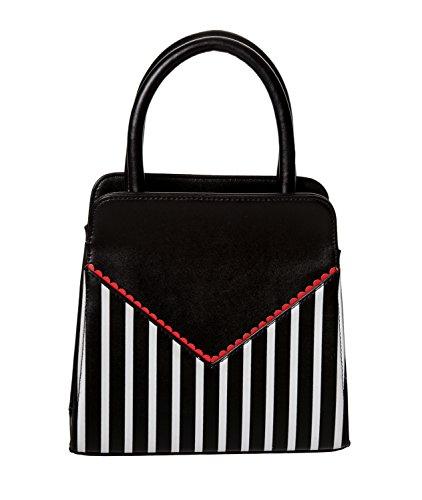 Banned - Bolso de asas de 100% PU para mujer talla única Black Striped
