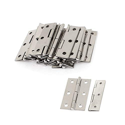 LDEXIN 20Pcs Stainless Steel Door Interior Butt Hinges Square Corner Home Furniture Gate Hardware (66mm 2.6inch)
