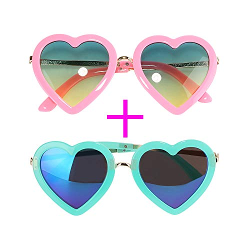 (MediaLJia 2 Pieces Heart Shaped Kids Polarized Sunglasses Children's Day Gift for Girls Between 3-10 Years Old)