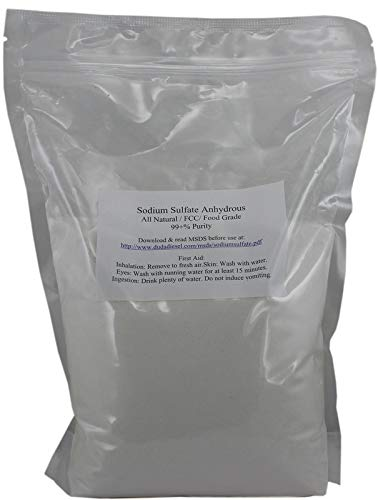 Duda Energy 5ssf Natural Sodium Sulfate Food Grade FCC 99+% Granular Anhydrous Crystals Salt Made in USA, 5 lb.