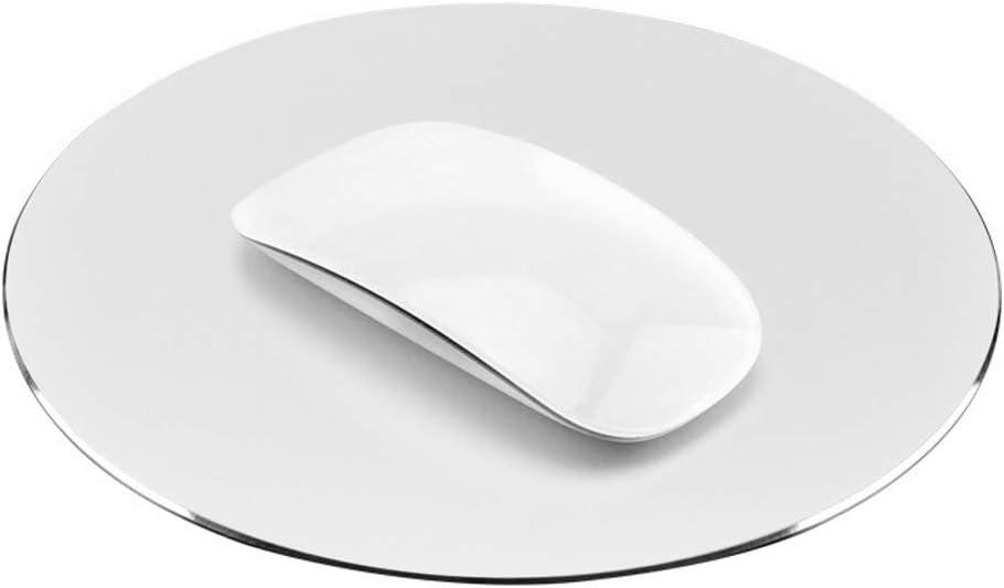 ProElife Premium Aluminum Metal Mouse Pad Mice Mat 8.66-inch (Round, Silver Color)